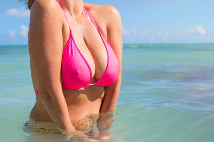 Woman in pink bikini